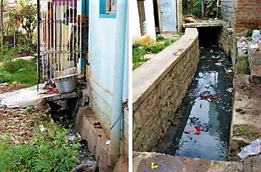 Greywater from laundry (left) and solid garbage which is disposed in open drains (right) pollute water and cause health hazards. Bangalore, Nepal. Source: BARRETO (2009)