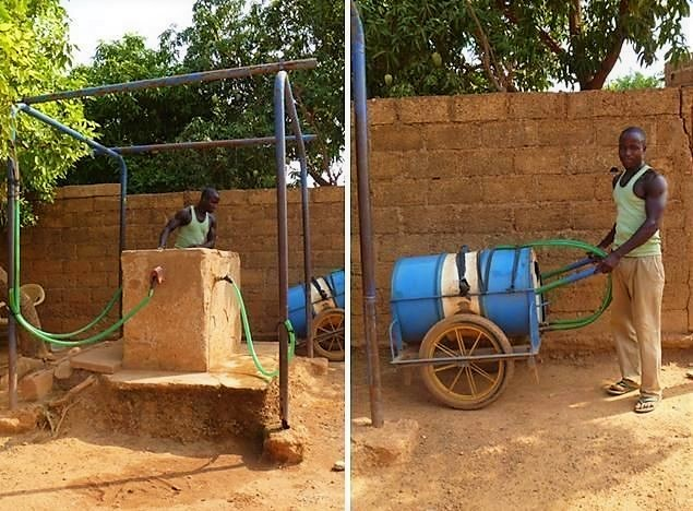 A water vendor in Ouagadougou, Burkina Faso fills his hand cart at a public stand pipe. Source: BASSAN (2011)