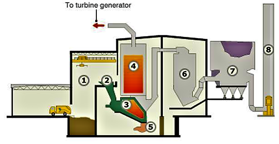 Waste is tipped into a holding area (1) where it is picked up by grabs and dropped into a hopper (2). The waste is pushed gradually into the incinerator (3) which runs at a temperature of 750 °C. Heat from the burning waste is used in a boiler (4) and steam from this is piped to a turbine generator to create electricity. The heaviest ash falls into a collection point (5) and is passed over with an electromagnet to extract metal content for recycling. Flue gases containing fine ash then pass through a scrubber reactor (6) to treat acid pollutants such as SO2 and also dioxins. The gases then pass through a fine particulate removal system (7) and are released through the chimney stack (8). Source: BBC (2009)