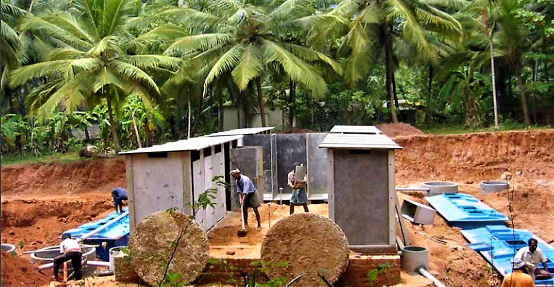 Construction of different toilet blocks connected to two pre-fabricated fibreglass reactor comprising a settling chamber, an aerobic baffled reactor and a final anaerobic filter unit. Source: BORDA (2009)
