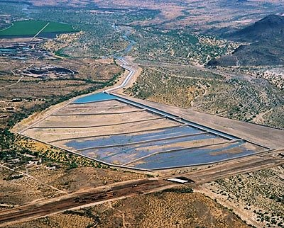 Groundwater recharge in spreading basins, Arizona