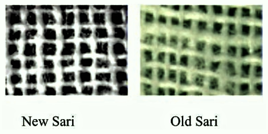 Comparison of electron micrographs of a single layer of New and Old sari. Source: COLWELL et al. (2002)