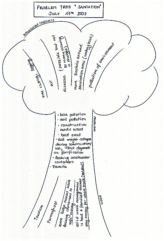 "Example of a problem tree on sanitation, as drawn by the Khatgal Community in Northern Mongolia. The ""roots"" of the tree show the roots of the problems, the stem is dedicated to the problems themselves and the crown shows the consequences of these problems. Source: CONRADIN (2007)"