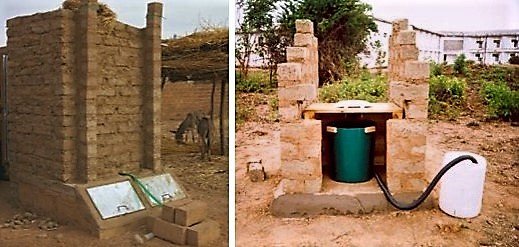 UDDTs of the Tecpan model. The vaults are covered with metal sheets which are inclined by 45° and orientated towards the sun in order to speed up the drying process (left). Single-vault Urine-Diversion Toilet under construction in Zambia. Faeces can be collected in a rice bag which than can be stored for drying exposed to the sun but protected from rain (right). Source: CREPA (2007)