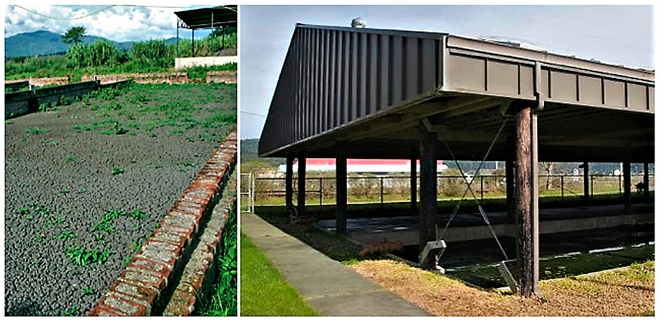 Unplanted drying beds in Ghana (left) and rain protected unplanted drying bed at the Arcata wastewater treatment plant, USA (right). Source: EAWAG/SANDEC (2008); HUMBOLDT EDU (2008)