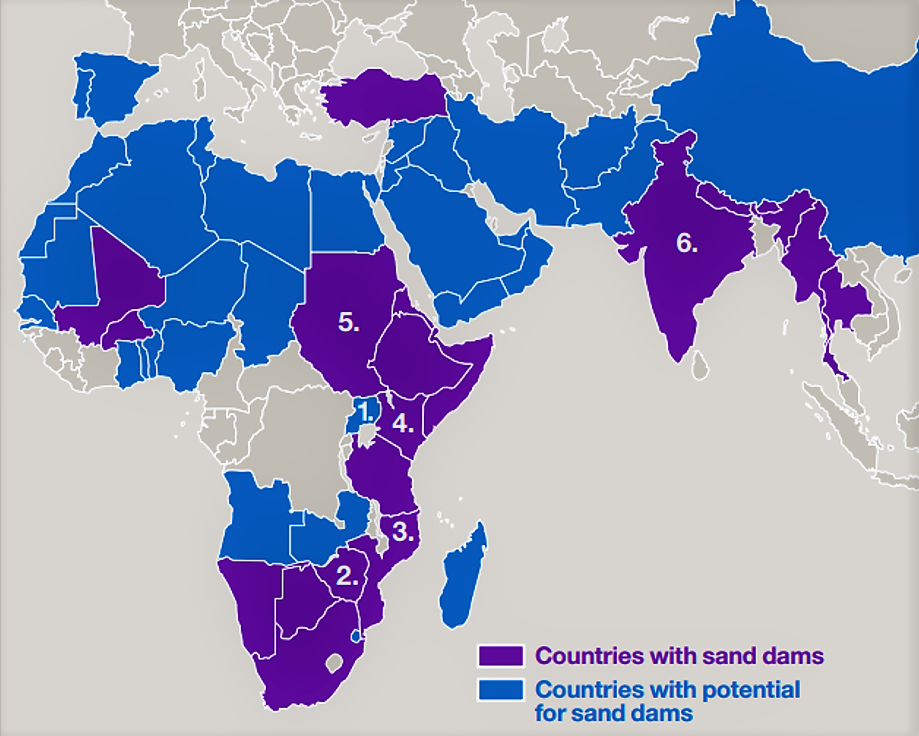 Map of drylands showing countries with sand dams (purple) and countries with potential for sand dams (blue). Source: ED (n.y.)