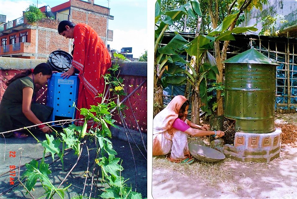 Compost bin in Kathmandu (left) and Compost barrel in Bangladesh (right). Source: ENPHO (n.y.) (left) and WASTE CONCERN (n.y) (right)