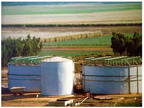 Large-scale UASB reactor followed by a post-treatment in trickling filters. Source: ENTEC BIOGAS (2014)