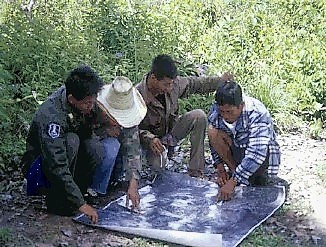 Villagers studying an aerial photograph of their area for preparing their transect walk. Source: FAO (2003)