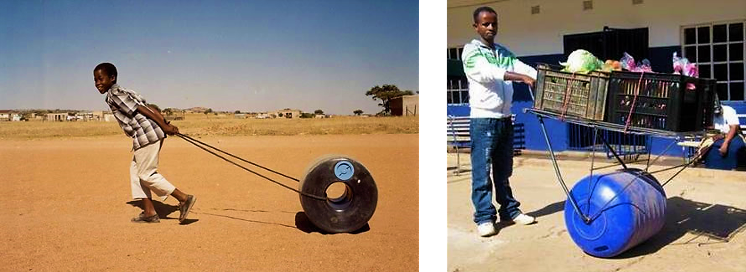 The Q-Drum can be pulled with help of a rope (left). The Hippo Water Roller (right) can be upgraded with a steel construction to carry baskets as well (so called 'Hippo Mobile Spaza'). Source: GUNZELMANN (2008) and HIPPOROLLER (2012)