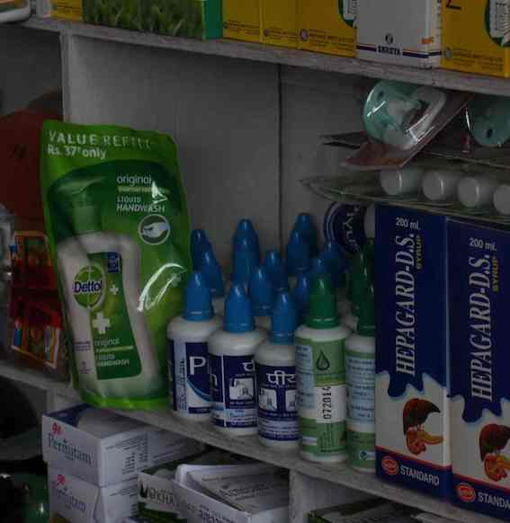 Chlorine products displayed in a pharmacy. Source: Antenna (2014)