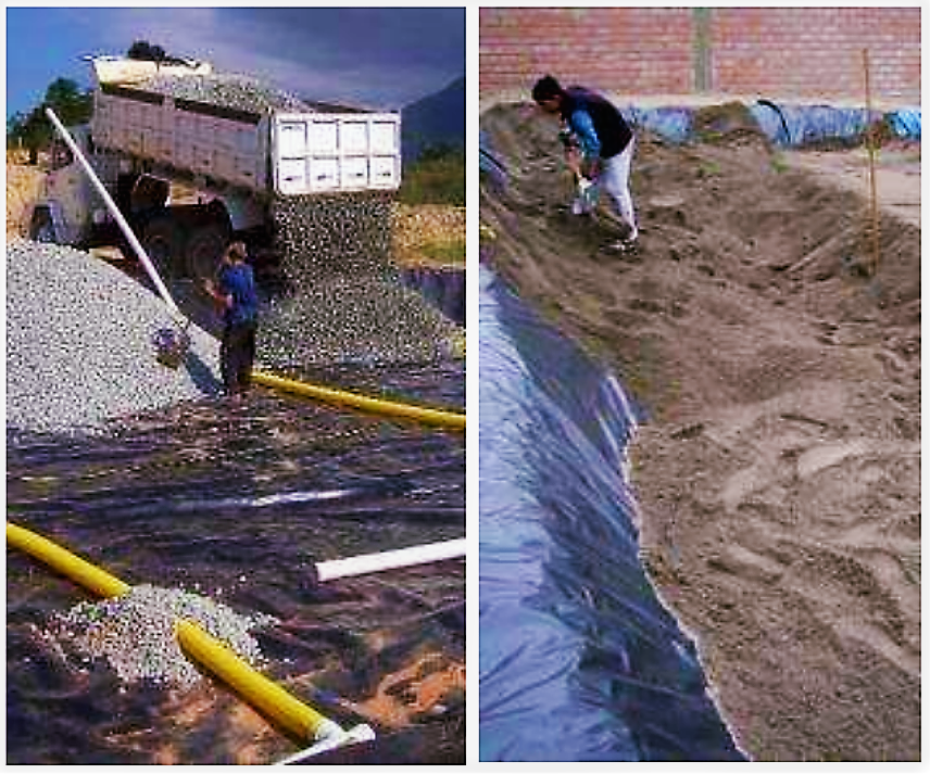 Left: Vertical flow filter during construction in Brazil (lined with polythene liner), drains are being covered with gravel. Right: Vertical flows filter in Peru during filling with sand. Source: HOFFMANN et al. (2011)