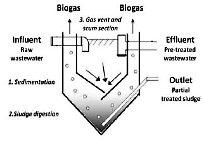 The three sections of an Imhoff tank – sedimentation (1), sludge digestion (2), gas vent and scum section (3). In this design, an outlet for the sludge is added. Source: HOFFMANN et al. (2011)