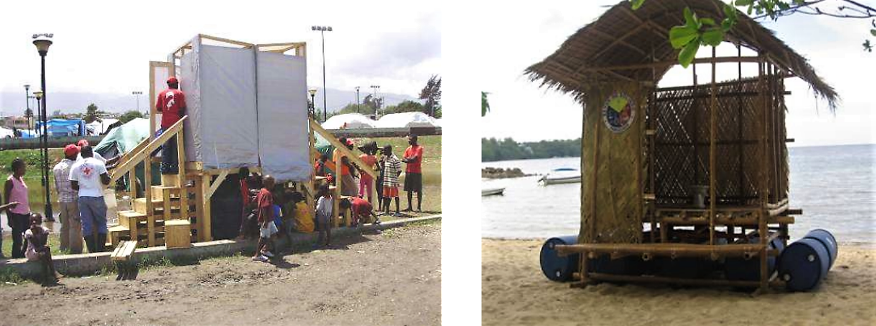Raised latrine kit with container tanks as constructed by IFRC in the Haiti Earthquake response in 2010 (left) and a Floating Sanitary Toilet (FST) as introduced in Bolinao, Philippines (right). Source: IFRC (2011, left image) and PEN (2010, right image)