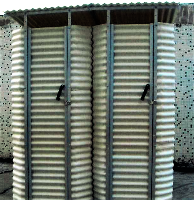 Prefabricated, corrugated plastic superstructures for pit latrines as used by IFRC in Haiti Earthquake response in 2010 can ensure dignity and privacy. Source: IFRC (2011)