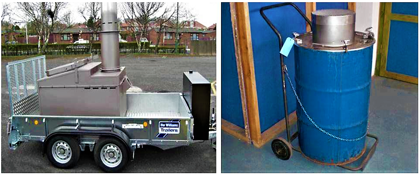 A mobile incinerator from Inciner8 (left) and a mini mobile incinerator (right). Source: INCINER8 (2004 ) and MAVI DENZ (n.y.)
