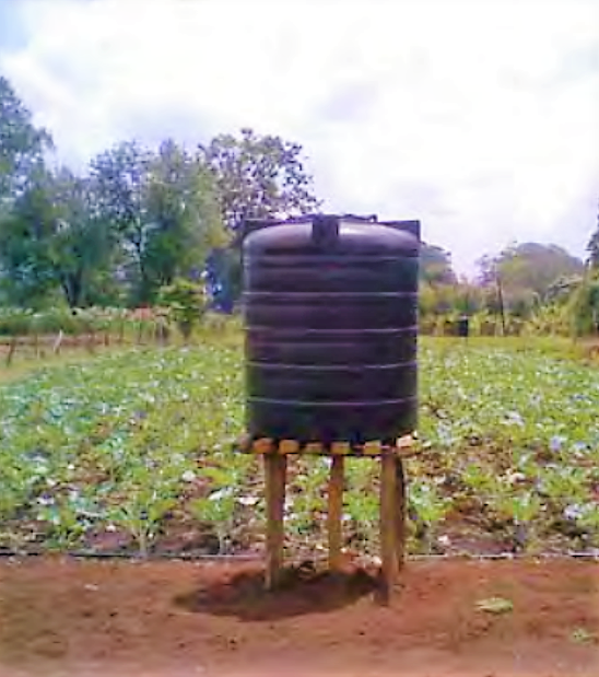 "A low-cost ""farm-kit system"" with a 1000 litres water tank can service up one-eight of an acre. Source: IPTRID (2008)"