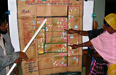Community members decide and plan where to build new latrines in their area. Source: KAR & CHAMBERS (2008)