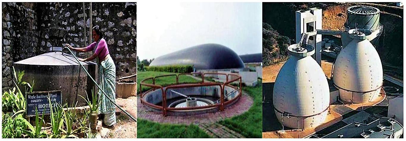 Small-scale biogas reactor for the treatment of market waste (l eft); large e-scale anaerobic lagoon with biogas recovery for the treatment of waste from swine stock farming (middle); and treatment of excess sludge from a municipal waste water treatment plant in egg-shaped completely mixed reactors (right). Source: MIKLED (n.y.); GFN UNIZAR (n.y.)