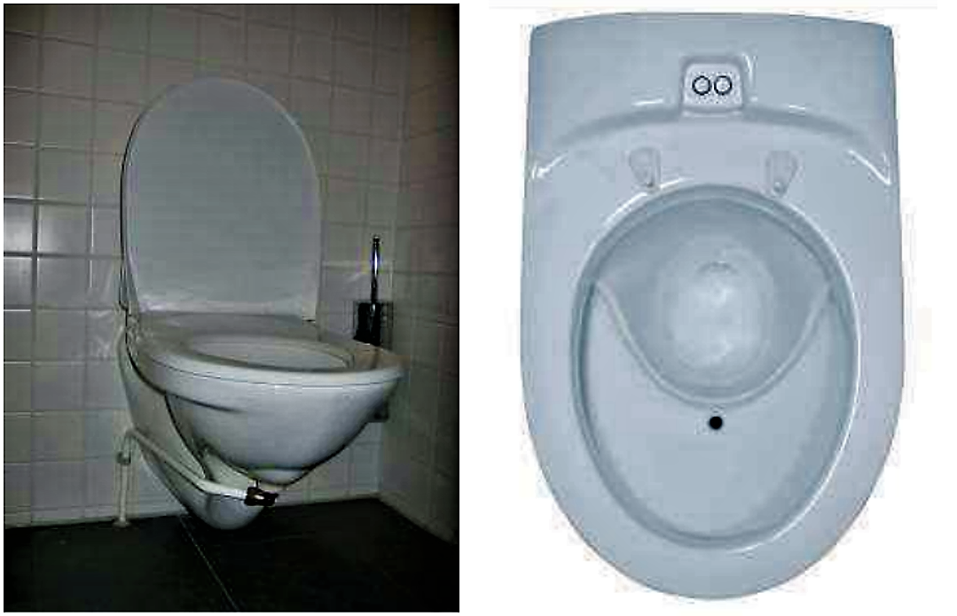 Left image: UD flush toilet (Gustavsberg Nordic, Sweden). Right image: UD vacuum toilet (Wost Man Ecology, Sweden). Source: MUENCH (2010)