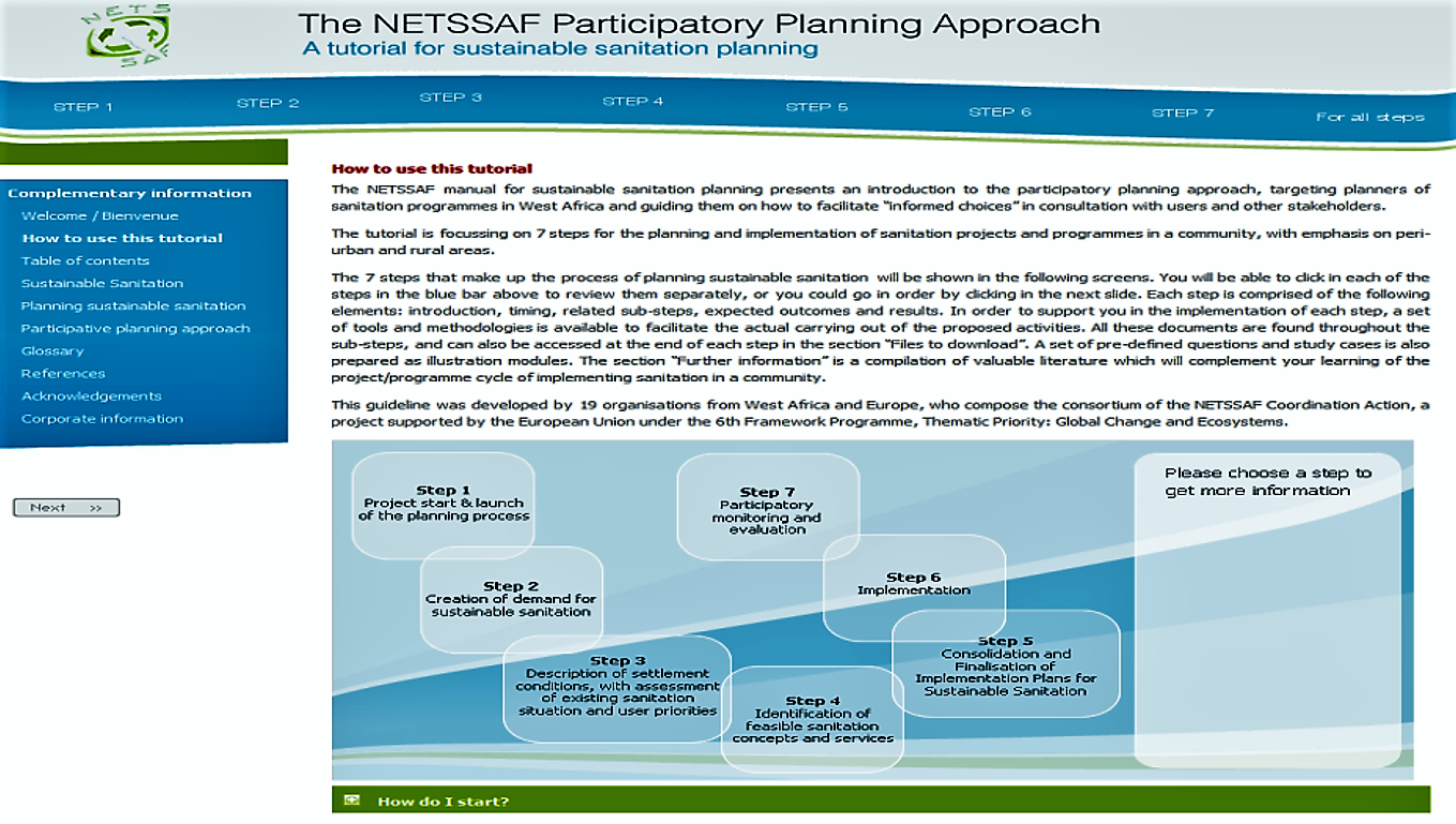 A view of the on-line NETSSAF tutorial showing the 7 steps. Source: NETSSAF (2008)