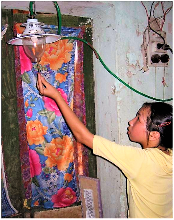 Running a gas lamp from biogas, Vietnam. Source: PBPO (2006)