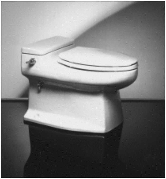 This low-flush toilet from Microphor in Willits, California, uses approximately 4.8 litres of water per flush. Source: PIPELINE (2000)