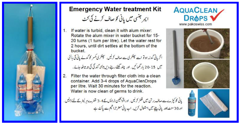 Advertisement for emergency water treatment kit. Source: Pakoswiss (2016)