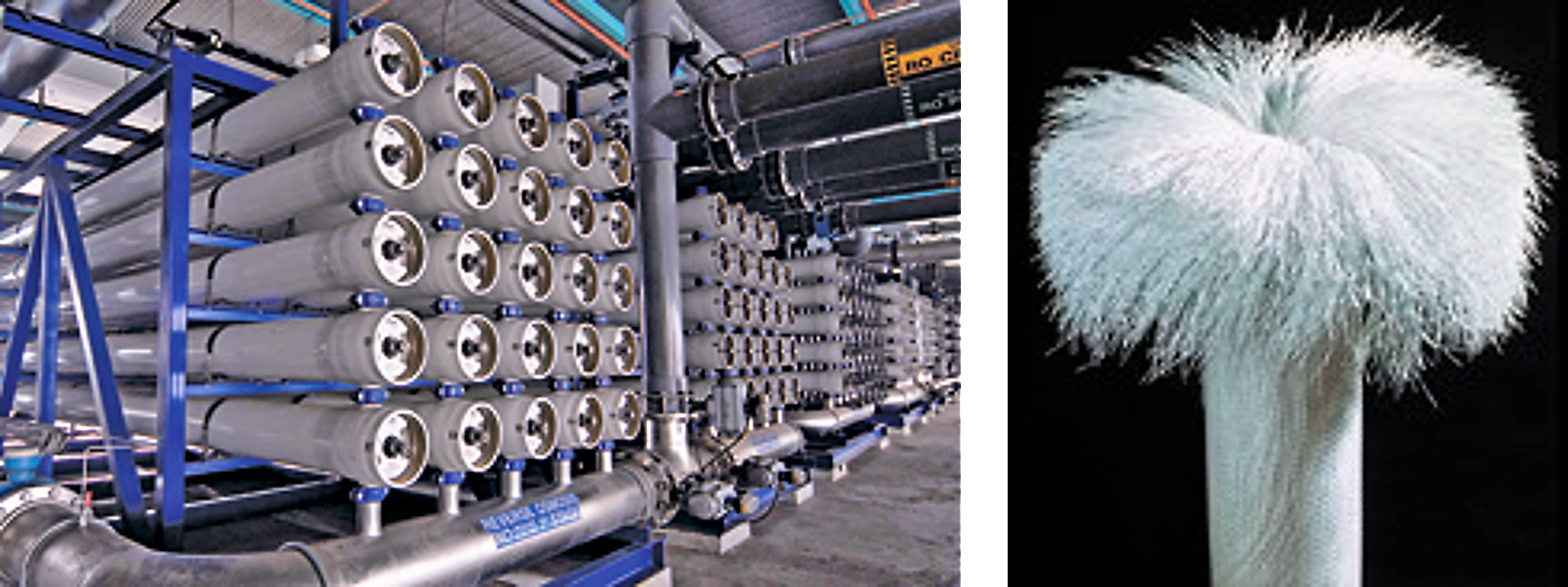 Photography of membrane modules used for water treatment (left) and hollow fibres (right). Source: Reisch (2007)
