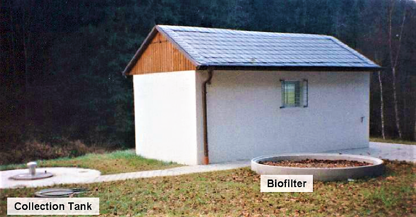 Small vacuum station building with biofilter for the suction air and collection tank. Source: ROEDIGER (2007)