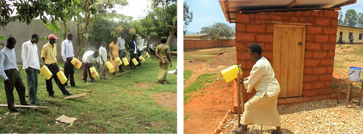 Lesson on how to build a Tippy tap, and a Tippy tap next to a toilet facility. Source: RYAN WELLS FOUNDATION (2011) and SUSANA (2011)