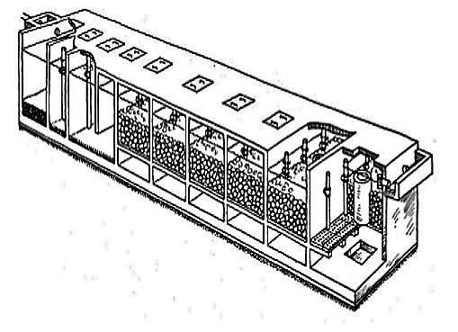 Three setting chambers followed by five anaerobic filter units. Source: SANIMAS (2005)