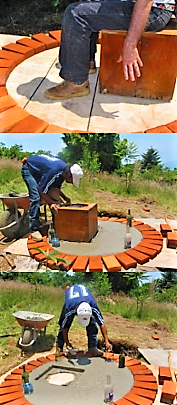 Construction of the slab (for a fossa alterna or arborloo) with the holes for the toilet bowl and the ventilation pipe. Also the handholds to move the slab and the piles for the superstructure must be attached. Source: SARAR  Transformación (2010)