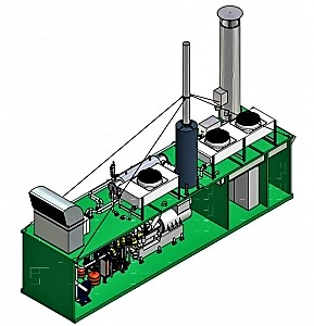 Design-model of a larger-scale biogas cogeneration unit produced by SEVA ENERGIE AG in Germany. Source: SCHALLER (2007)