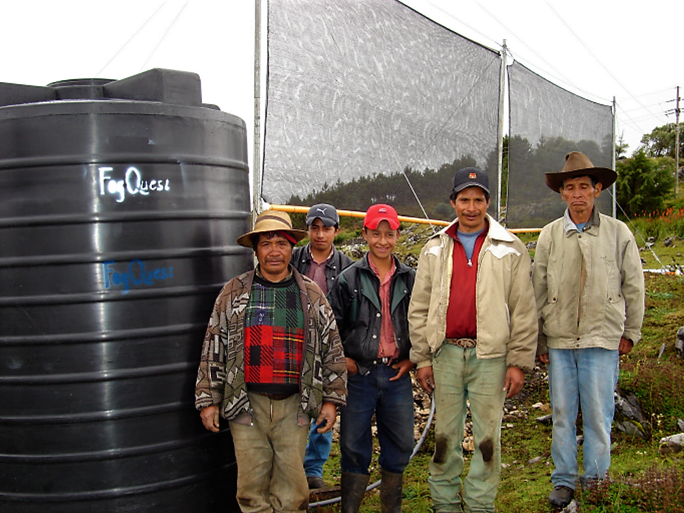 Two large fog collectors and one large tank provide water for one or two families in Guatemala. Source: SCHEMENAUER (2008)