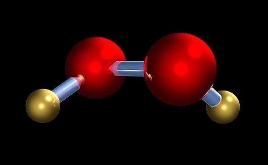 Computer model of a molecule of hydrogen peroxide: hydrogen (red) and oxygen (gold). Source: SCIENCE PHOTO LIBRARY (n.y.)