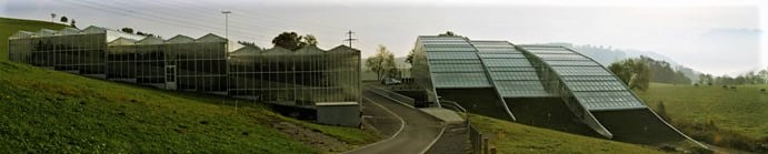 Entrance of the greenhouses and visitors centre in Wolhusen (Switzerland). The gas densification station is in the background. Source: SEECON (2012)