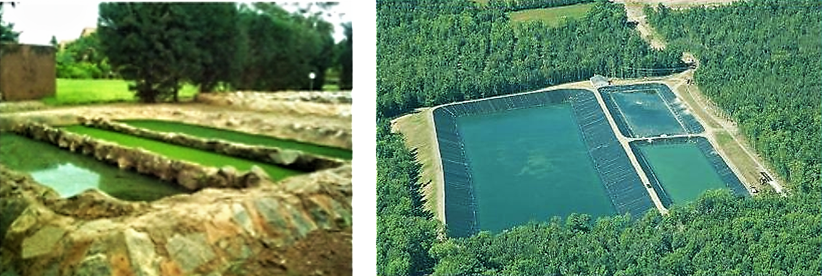 Mini waste stabilisation ponds consisting of an anaerobic (right), facultative (middle) and aerobic pond (left) at the CREPA headquarter, in Ouagadougou, Burkina Faso and a large-scale waste stabilisation pond system in Maine (USA). Source: SPUHLER (2006, left image)  and EMERY (2003, right image)