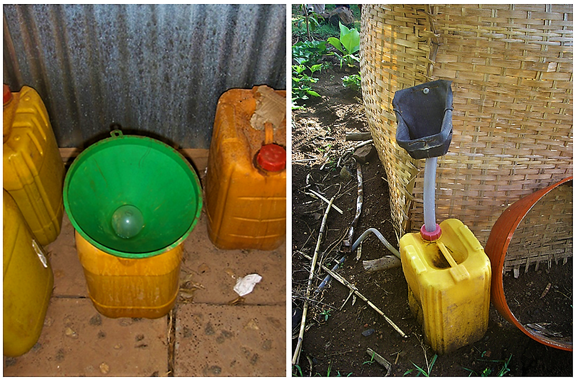 "Low-cost dry urinal (""eco-lilly"" or ""bidur"") used for the collection of urine. Source: D. SPUHLER (2007) (left) and SuSanA on Flickr 2010) (right)"