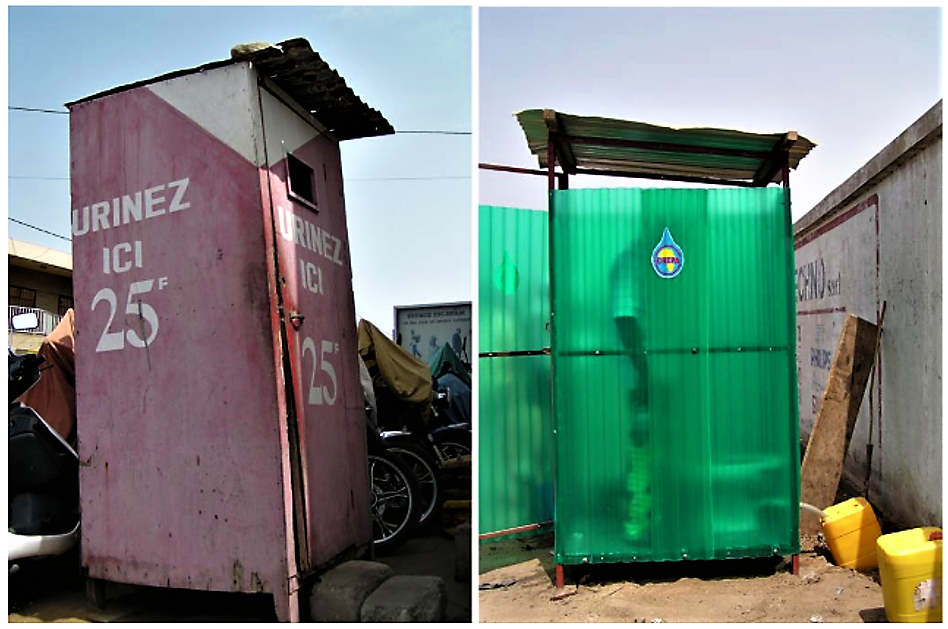Public toilets collecting urine in Lomé, Togo. The collected urine is transported in jerry cans to an experimental agricultural site where it is stored and reused. Source: SPUHLER (2007)