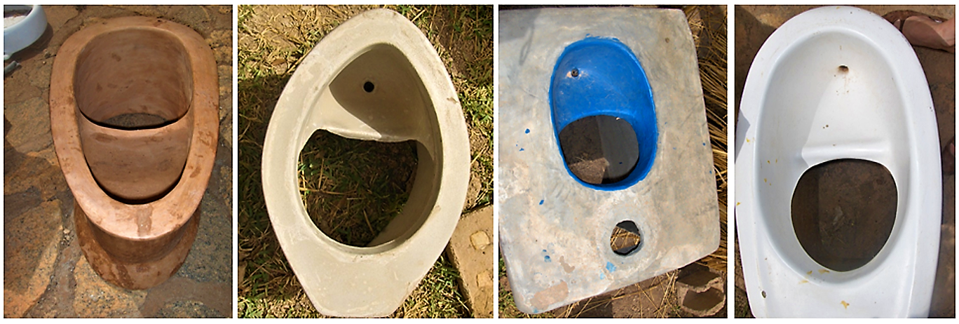 Several types of UDDT toilets, made by local craftsmen in Ouagadougou, Burkina Faso (CREPA Headquarter). Source: SPUHLER (2007)