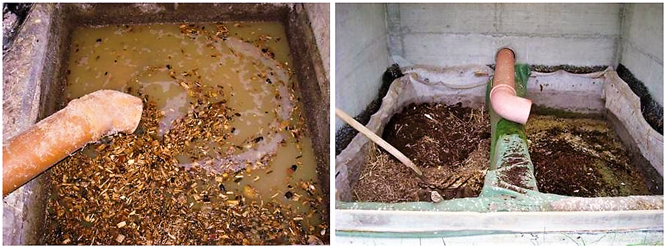 An overflow and clogging of the filter should be avoided. It can lead to anaerobic conditions and bad odour (left image). A properly maintained two-chamber compost filter in Switzerland (right image). Source: STAUFFER (2010)