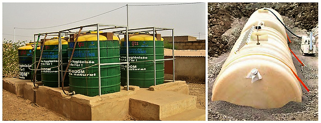 Large-scale urine storage tanks. Left: Urine is collected in jerry cans from household UDDTs and stored on municipality level before it is resold as fertiliser (Source: SuSanA on Flickr 2010). Right: Underground Urine storage tanks from a multi-storey housing in Northern Europe (Source: SuSanA on Flickr 2010).