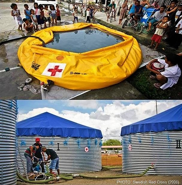 International Red Cross Water and Sanitation Emergency Response Unit (ERU), consisting of anonion tank for settlement supported by coagulation/flocculation (top) followed by bulk storage tanks with chlorine disinfection (below). Source: SWEDISH RED CROSS (2008)