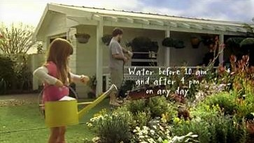 Awareness raising campaign on TV in Sydney, were people are looking at their watch before watering their garden. Source: SYDNEY WATER (2010)