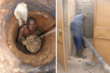 A toilet emptier passes the bucket full of faecal sludge to his assistant. The man works without gloves, boots and mask, because these are too expensive. The health risk in this case is extremely high (left). Emptying a pit with a vacuum tanker is much easier but only possible if the sludge is enough liquid and equipment is available (right). The consistency of the VIP sludge could be a problem for emptying with pumps when it is too dry. Source: SuSanA on Flickr (2010)