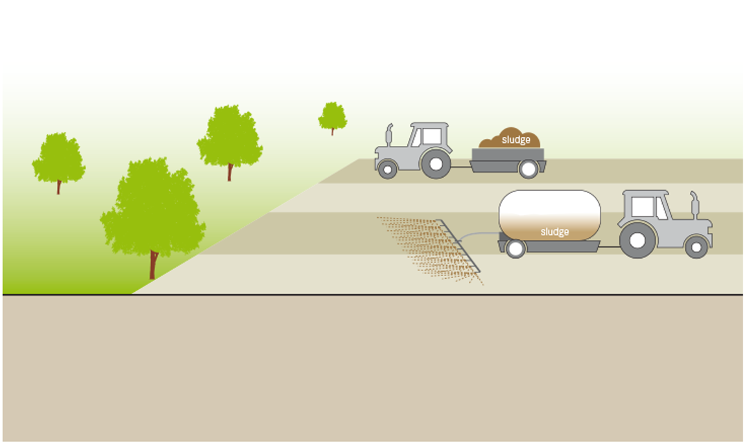 Schematic of land application of sludge. Source: TILLEY et al. (2014)