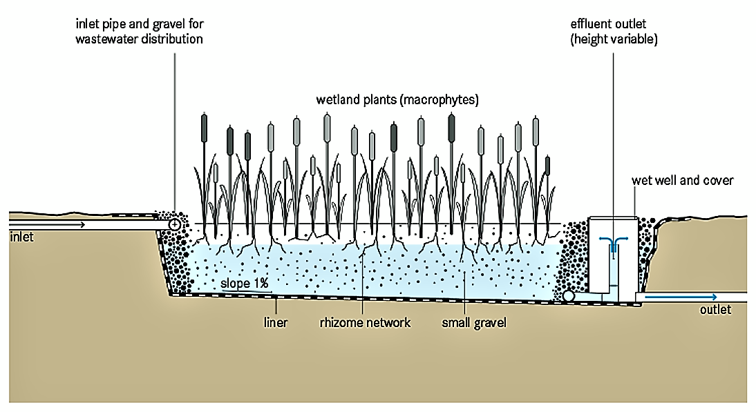 Schematic of the Horizontal Subsurface Flow Constructed Wetland. Source: TILLEY et al. (2014)