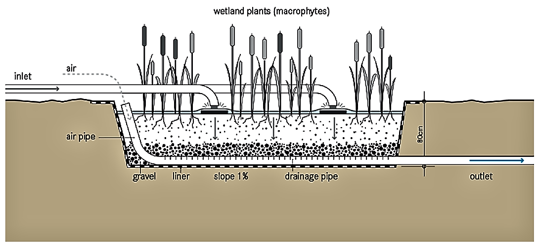 Schematic of the Vertical Flow Constructed Wetland. Source: TILLEY et al. (2014)