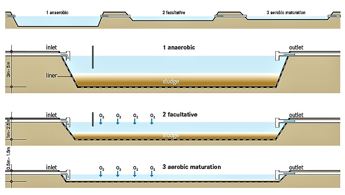 Typical scheme of a Waste Stabilisation System (WSP). Source: TILLEY et al. (2014)